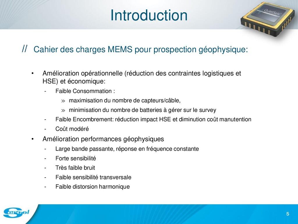 Introduction Cahier des charges MEMS pour prosp...