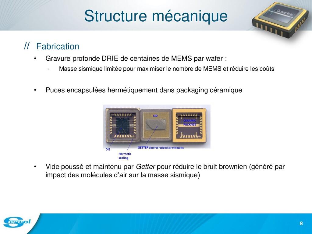 Structure mécanique Fabrication • Gravure profo...