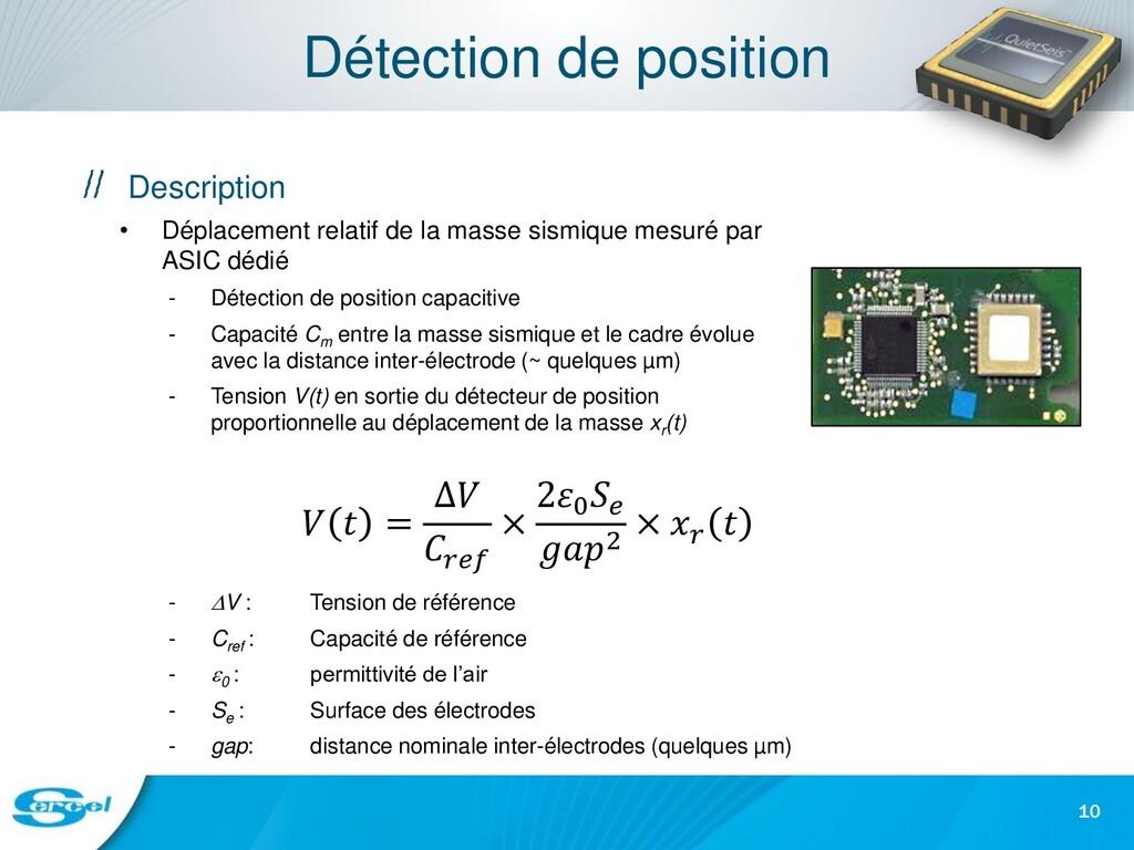 Détection de position Description • Déplacement...