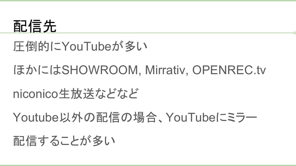 配信先 圧倒的にYouTubeが多い ほかにはSHOWROOM, Mirrativ, OPEN...