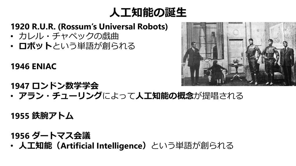 人工知能の誕生 1920 R.U.R. (Rossum's Universal Robots)...
