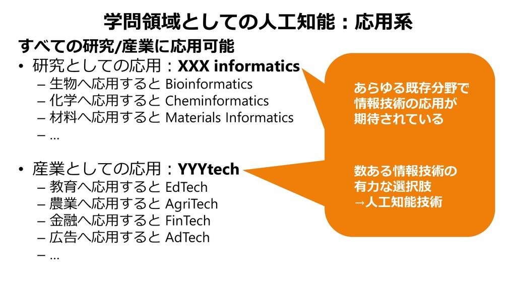 学問領域としての人工知能:応用系 すべての研究/産業に応用可能 • 研究としての応用:XXX ...