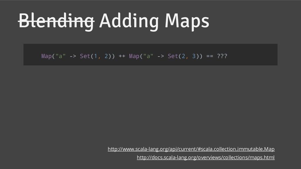 "Blending Adding Maps Map(""a"" -> Set(1, 2)) ++ M..."