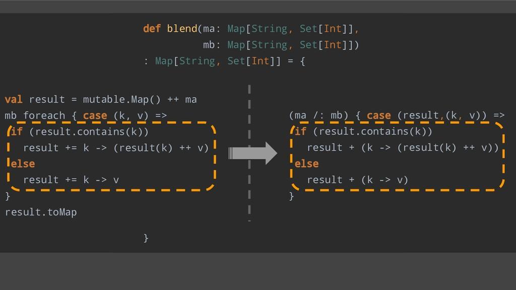 def blend(ma: Map[String, Set[Int]], mb: Map[St...