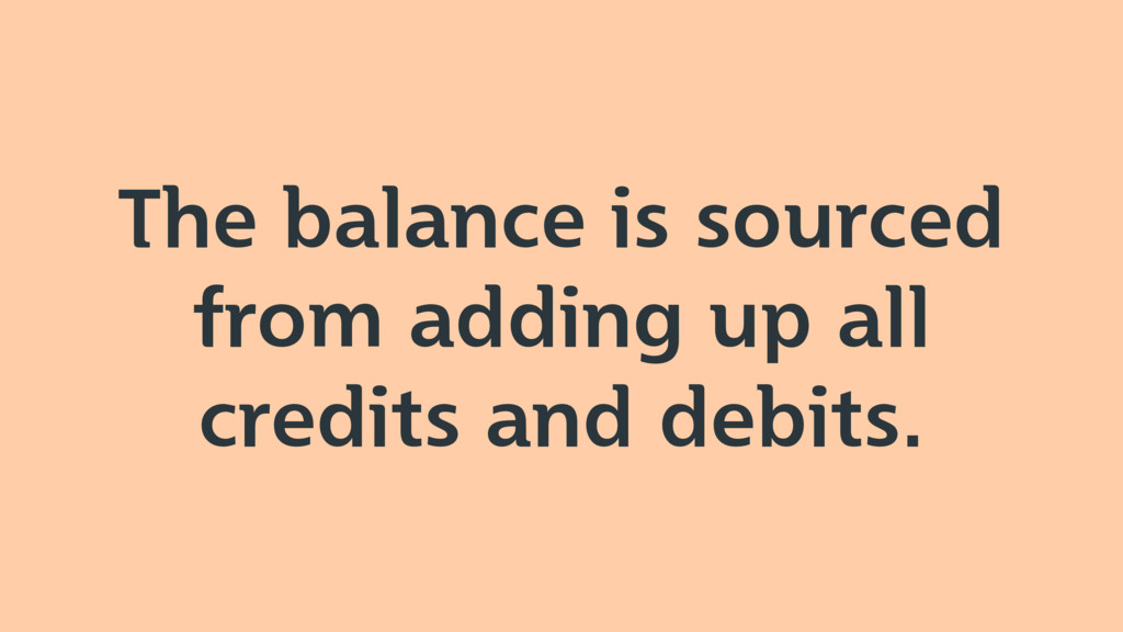 The balance is sourced from adding up all credi...