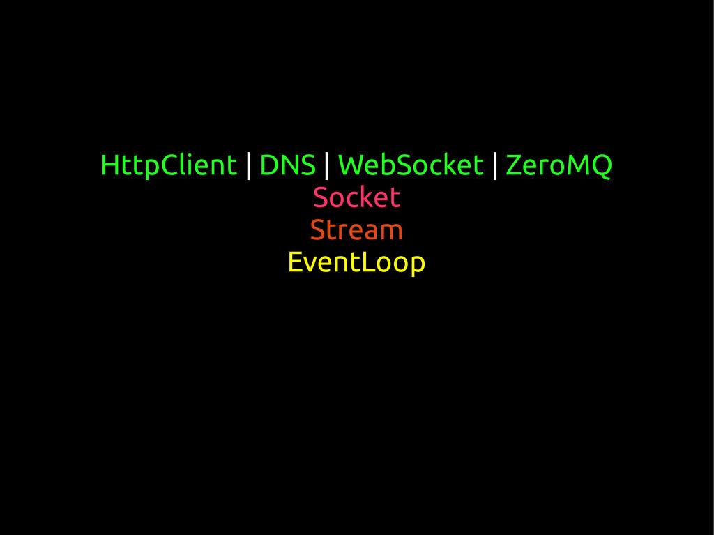 HttpClient | DNS | WebSocket | ZeroMQ Socket St...