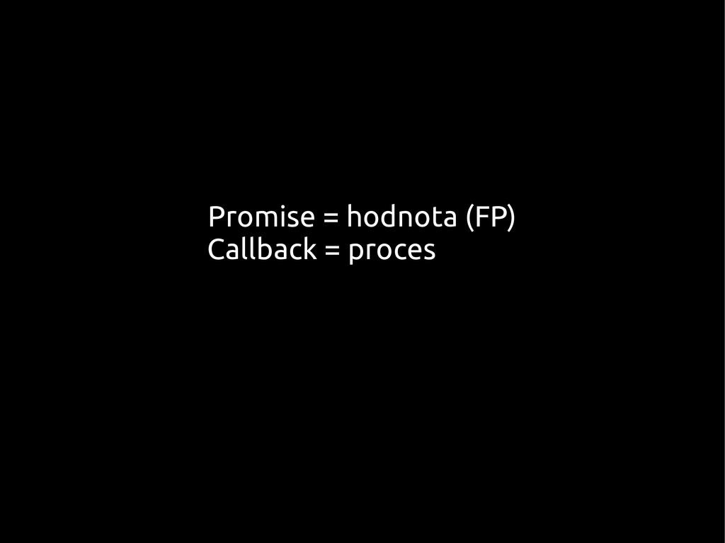 Promise = hodnota (FP) Callback = proces