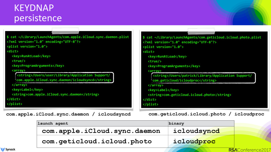 KEYDNAP persistence $ cat ~/Library/LaunchAgent...