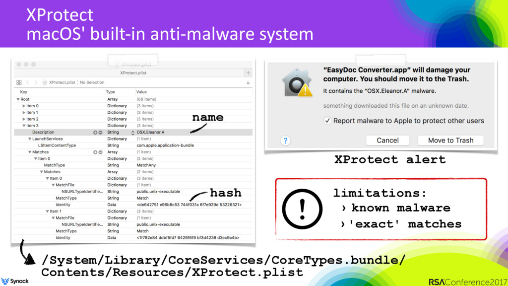 XProtect macOS' built-in anti-malware system /S...