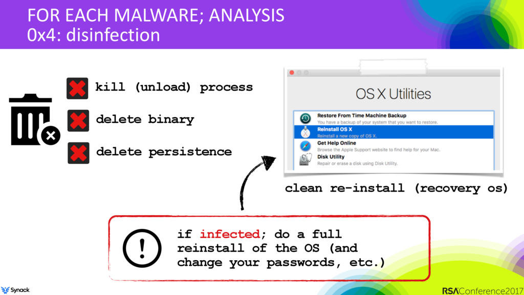 FOR EACH MALWARE; ANALYSIS 0x4: disinfection cl...