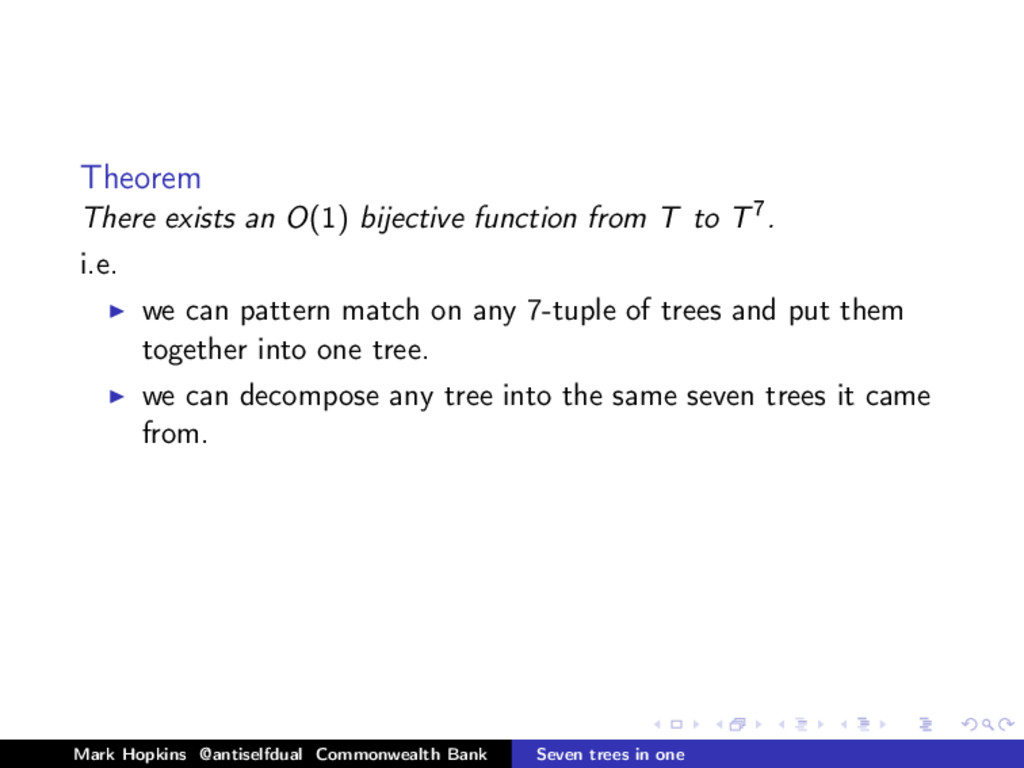 Theorem There exists an O(1) bijective function...