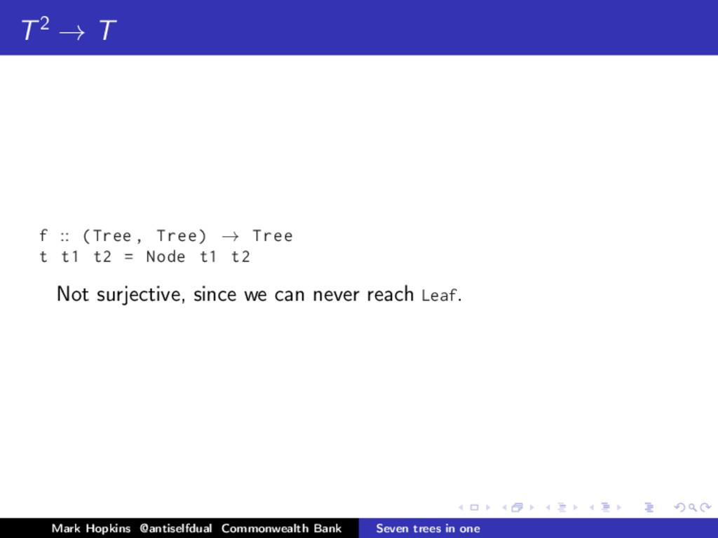 T2 → T f :: (Tree , Tree) → Tree t t1 t2 = Node...