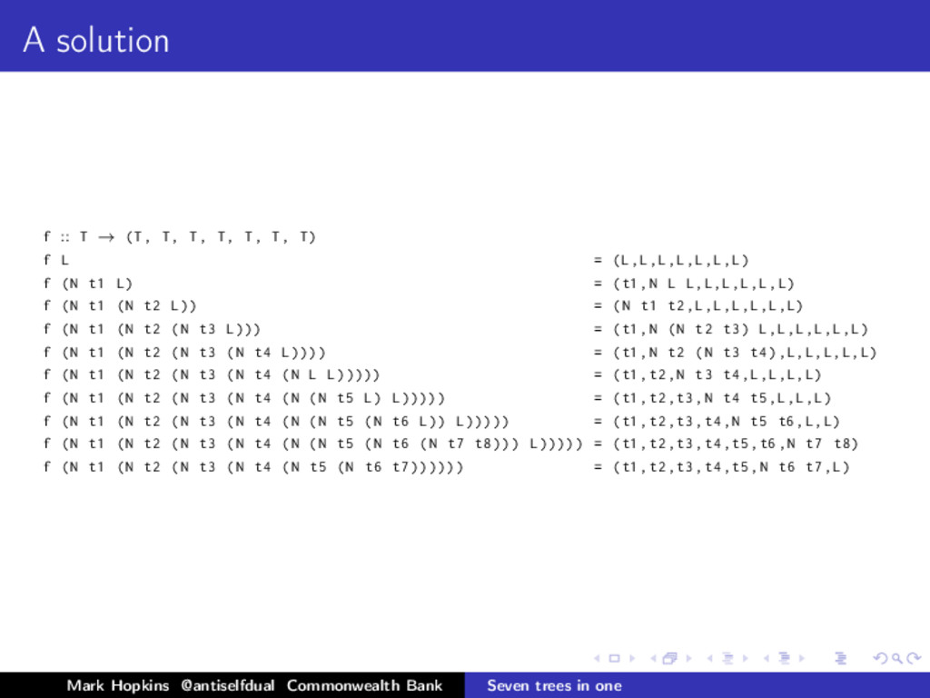 A solution f :: T → (T, T, T, T, T, T, T) f L =...