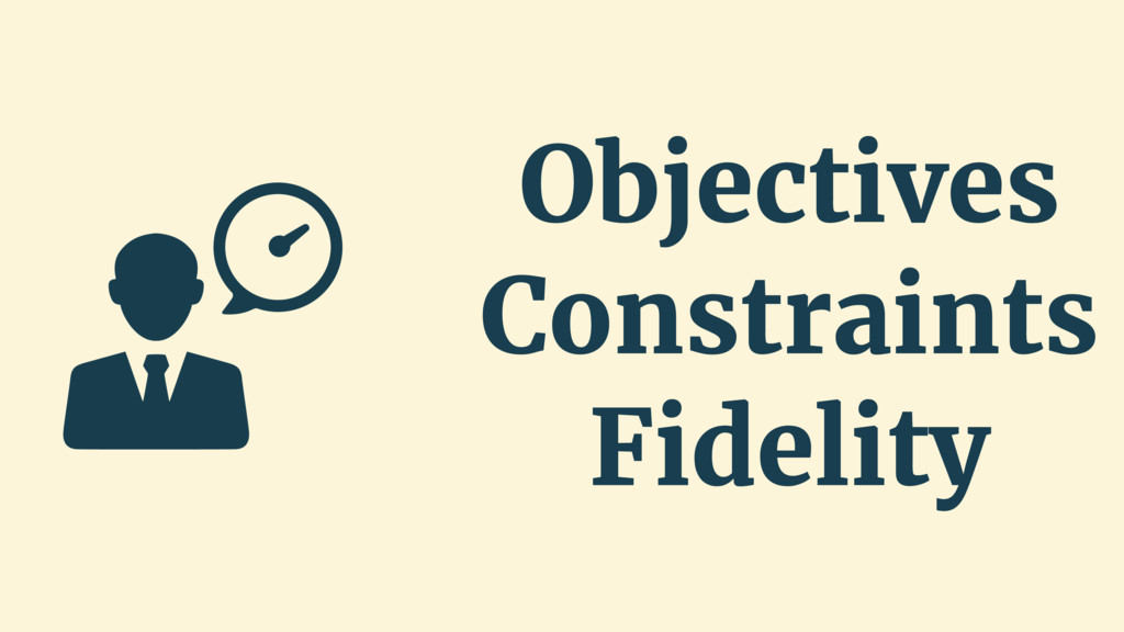 Objectives Constraints Fidelity