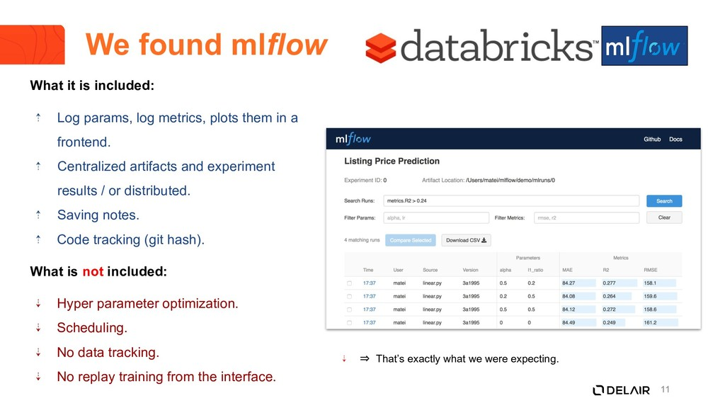 11 We found mlflow What it is included: ⇡ Log p...