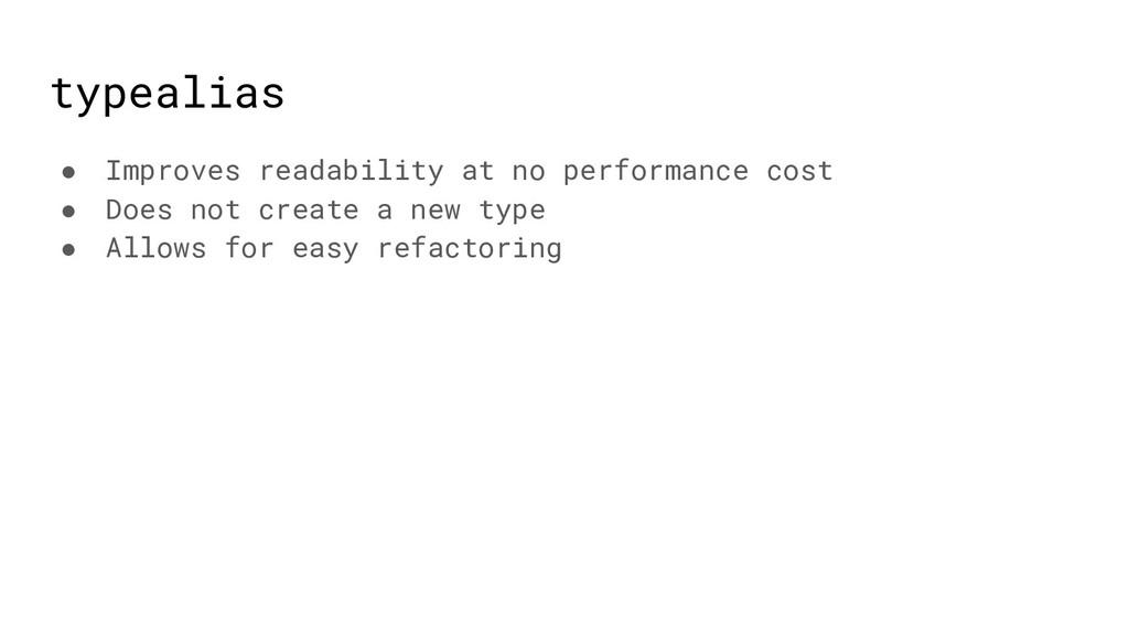 typealias ● Improves readability at no performa...