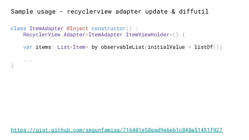 Sample usage - recyclerview adapter update & di...