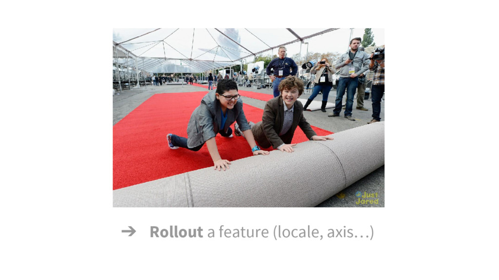 ➔ Rollout a feature (locale, axis…)
