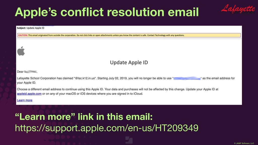© JAMF Software, LLC Apple's conflict resolution...