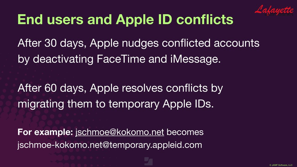 © JAMF Software, LLC End users and Apple ID con...
