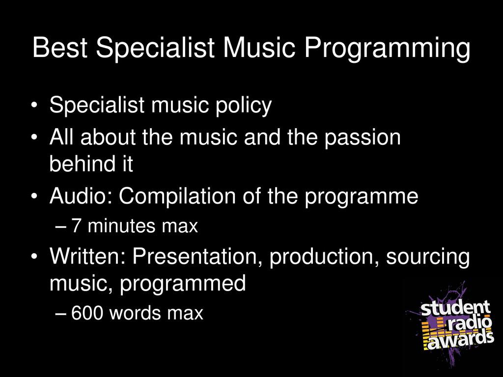 Best Specialist Music Programming • Specialist ...