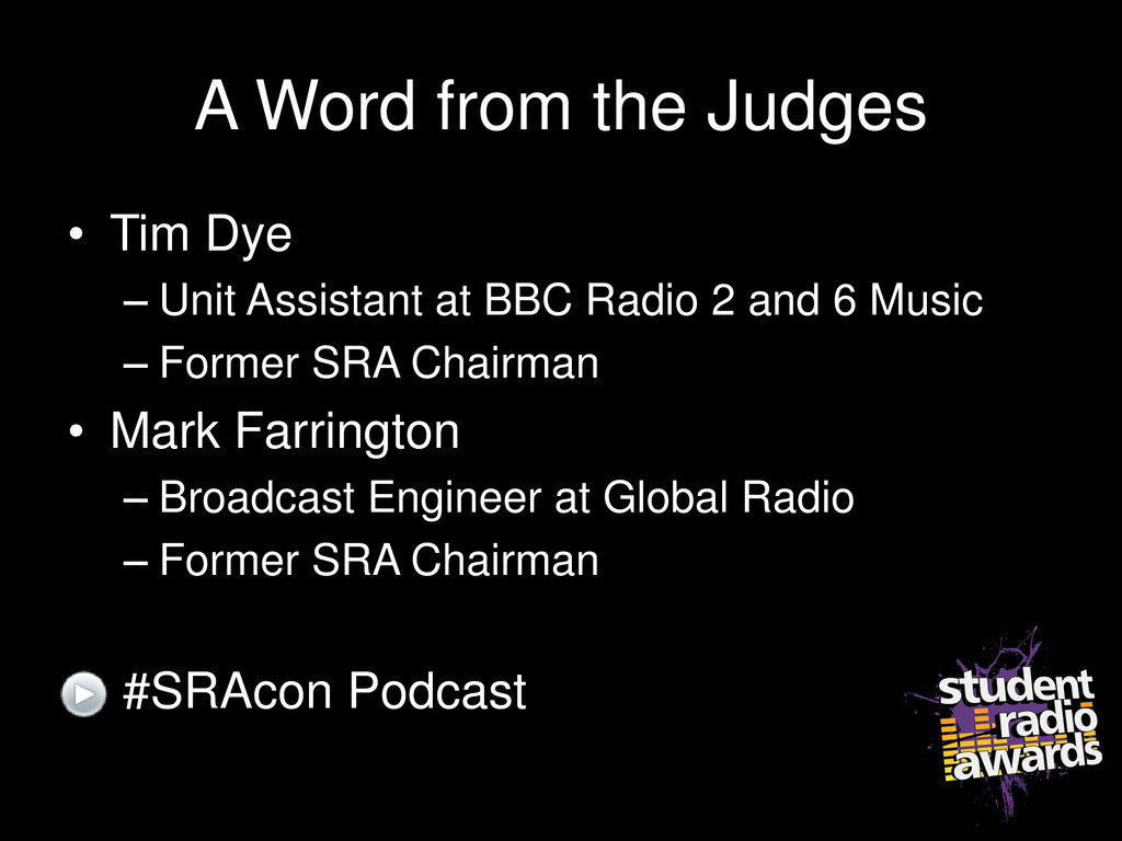 A Word from the Judges • Tim Dye – Unit Assista...
