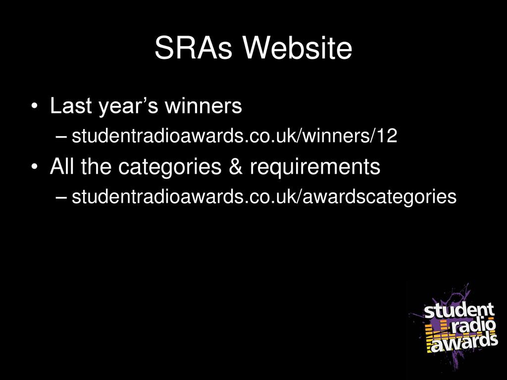SRAs Website • Last year's winners – studentrad...