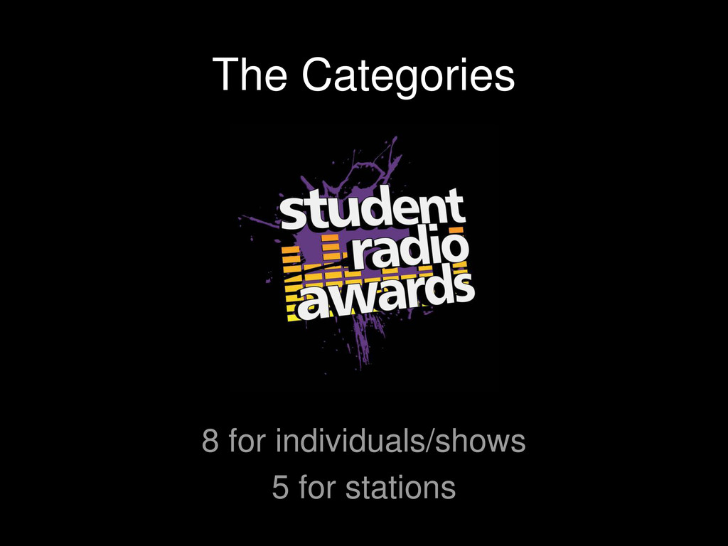 The Categories 8 for individuals/shows 5 for st...