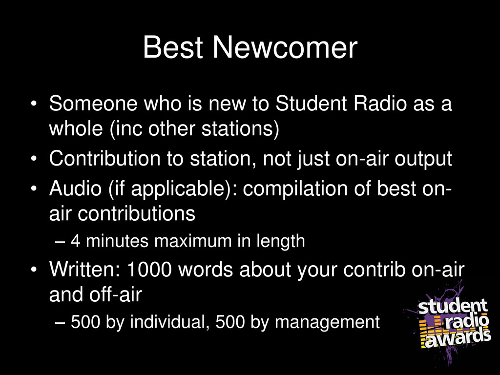 Best Newcomer • Someone who is new to Student R...