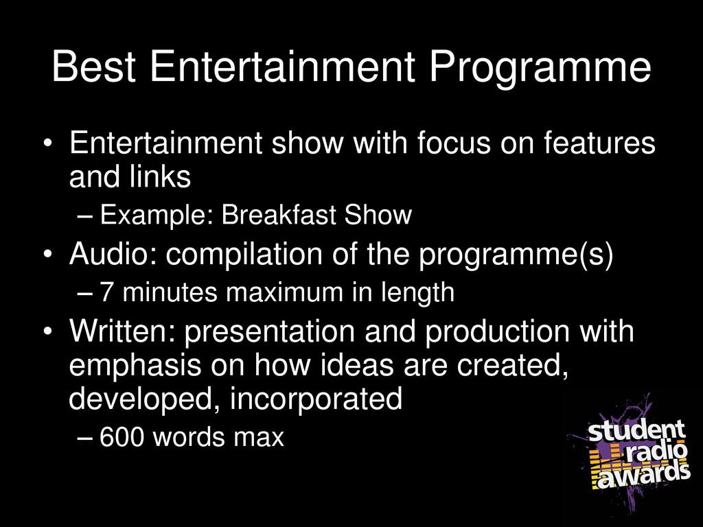 Best Entertainment Programme • Entertainment sh...