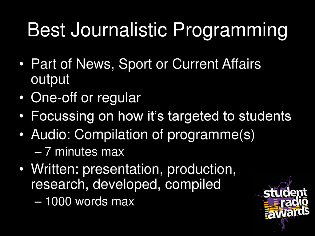 Best Journalistic Programming • Part of News, S...