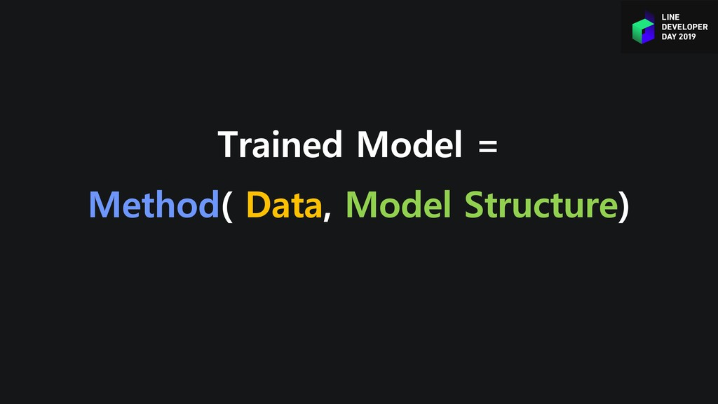 Trained Model = Method( Data, Model Structure)