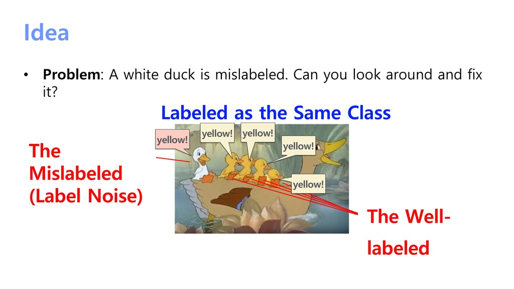 Idea • Problem: A white duck is mislabeled. Can...