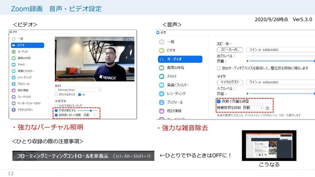 12 Zoom録画 音声・ビデオ設定 ←ひとりでやるときはOFFに! 2020/9/26時点 ...