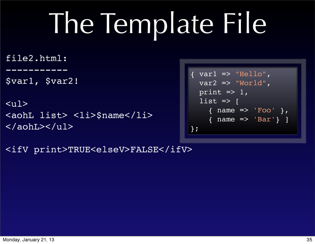 The Template File file2.html: ----------- $var1...