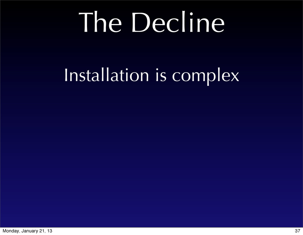 The Decline Installation is complex 37 Monday, ...