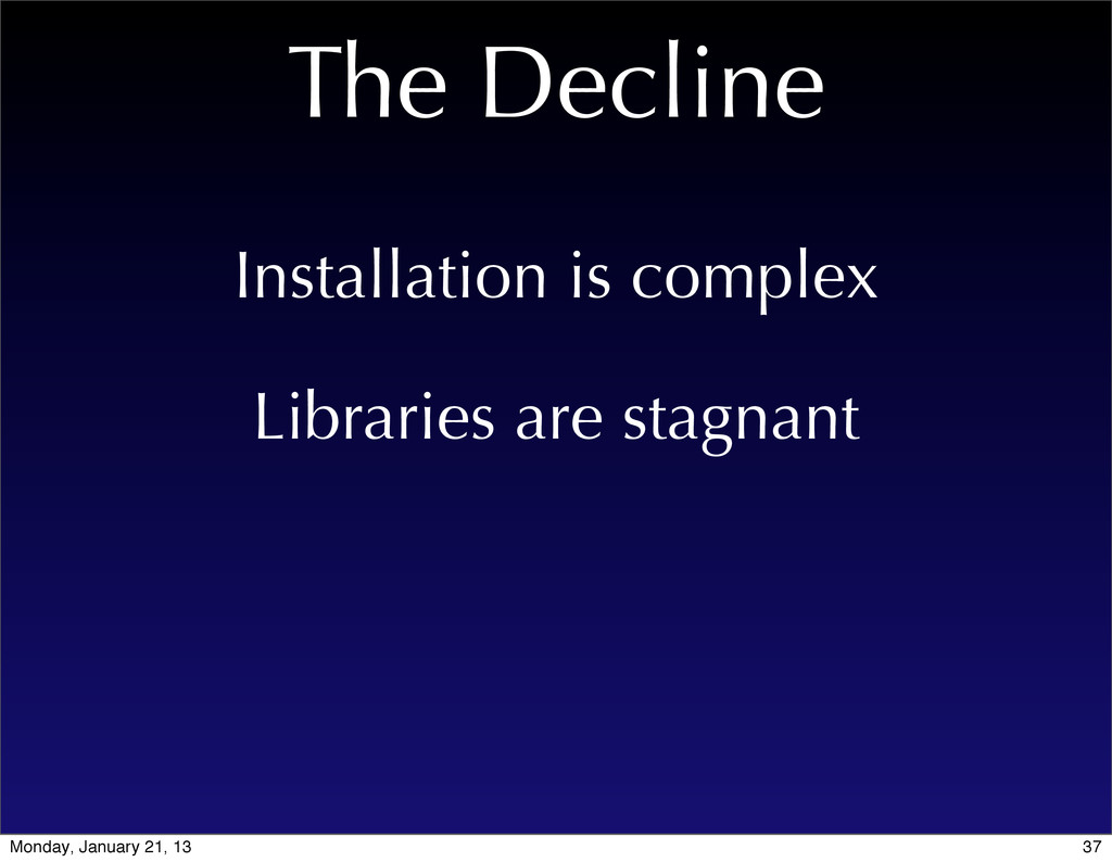 The Decline Libraries are stagnant Installation...