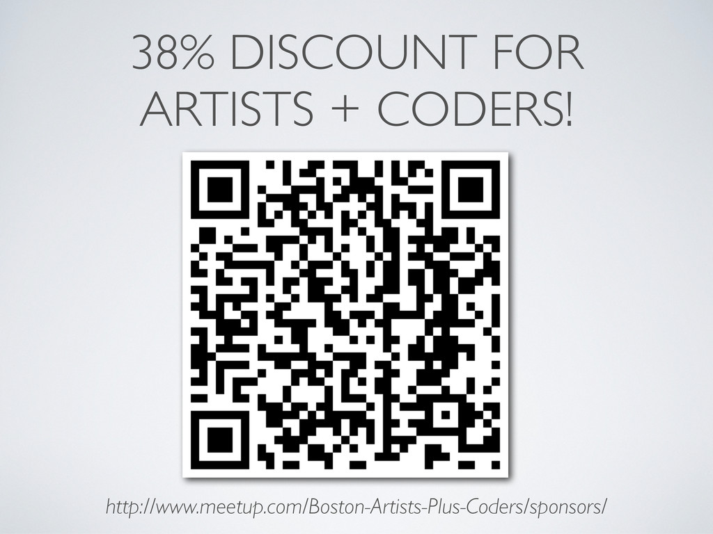 38% DISCOUNT FOR ARTISTS + CODERS! http://www.m...