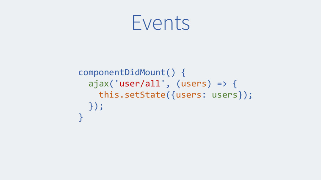 Events componentDidMount() { ajax('user/all', (...