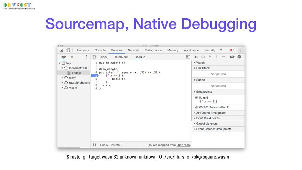 Sourcemap, Native Debugging $ rustc -g --target...