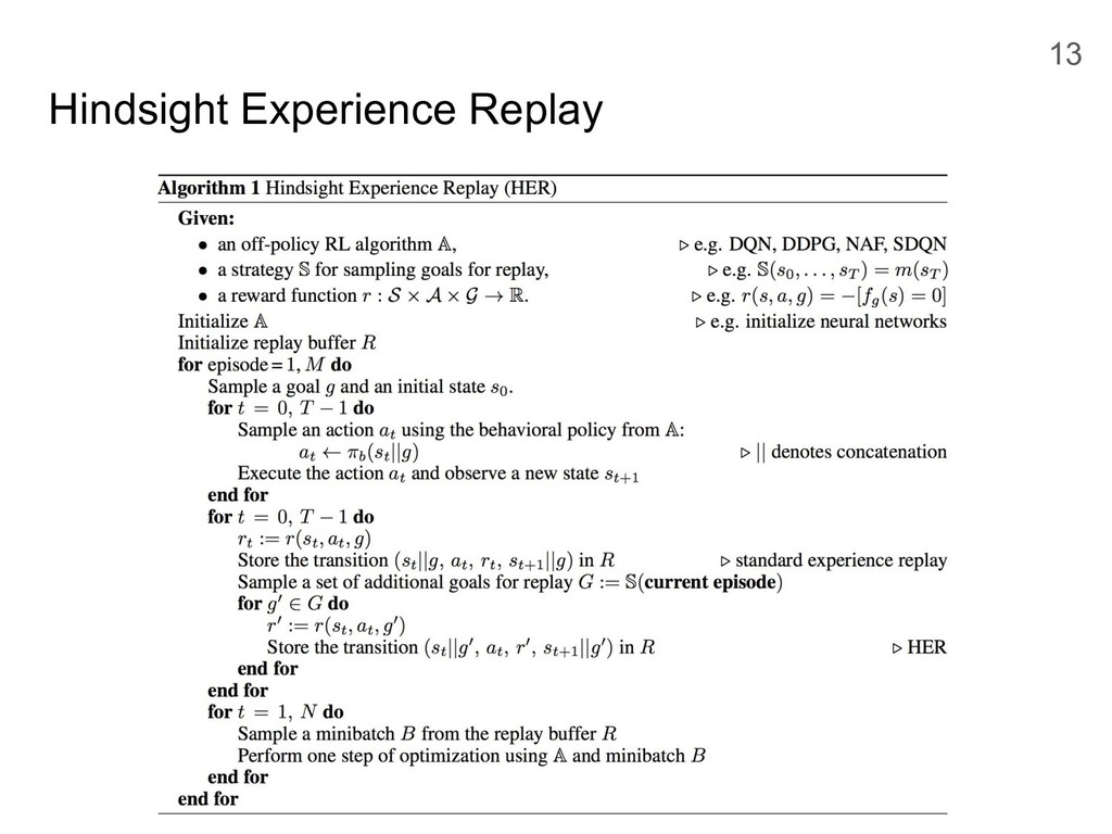 Hindsight Experience Replay 13