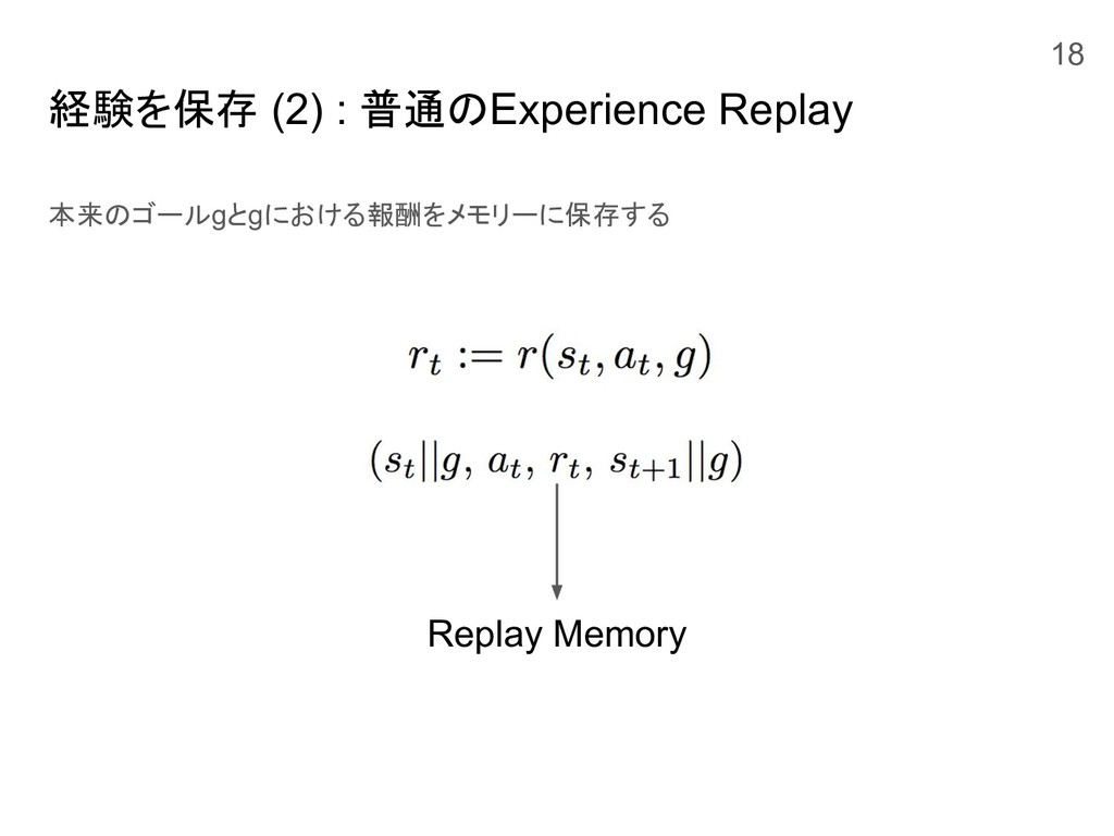 経験を保存 (2) : 普通のExperience Replay 本来のゴールgとgにおける報...