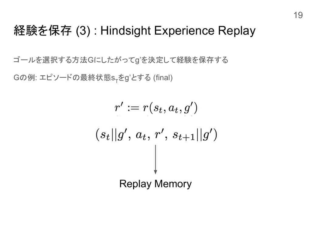 経験を保存 (3) : Hindsight Experience Replay ゴールを選択す...