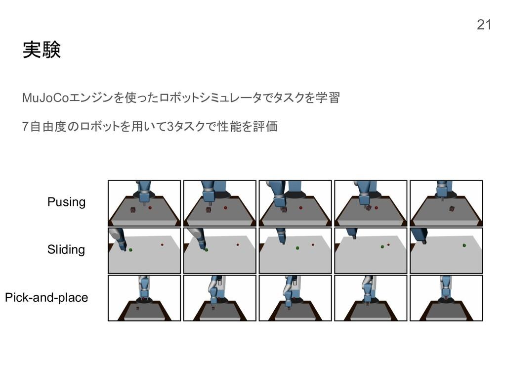 実験 MuJoCoエンジンを使ったロボットシミュレータでタスクを学習 7自由度のロボットを用い...