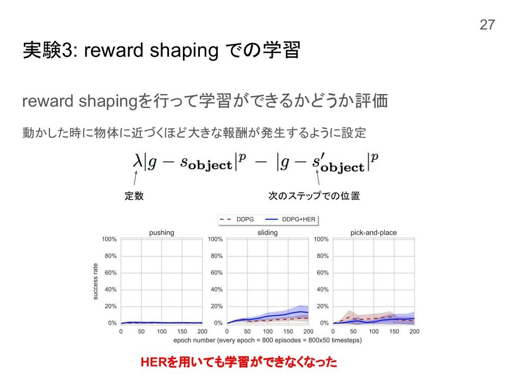 実験3: reward shaping での学習 reward shapingを行って学習がで...