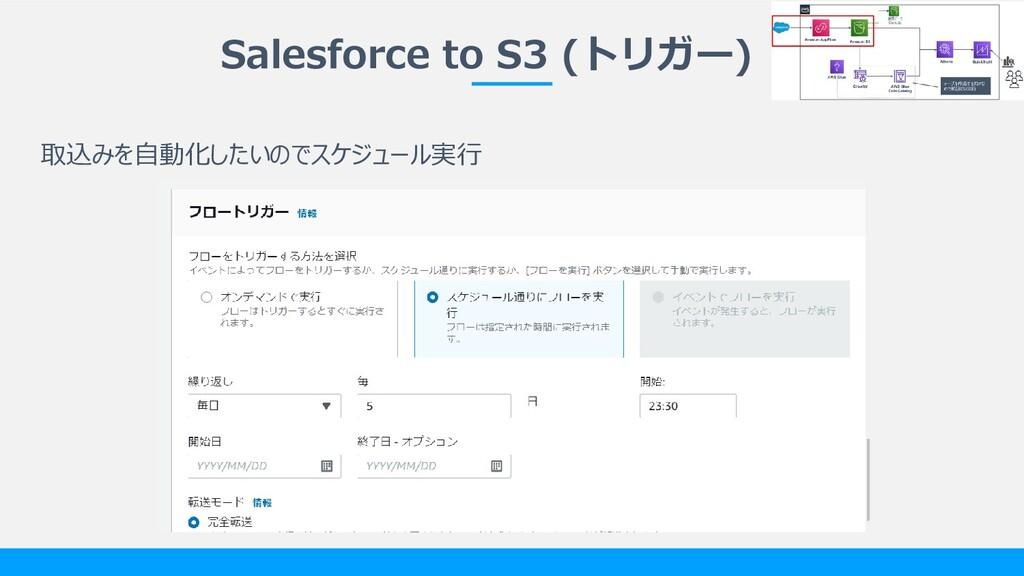 Salesforce to S3 (トリガー) 取込みを自動化したいのでスケジュール実行