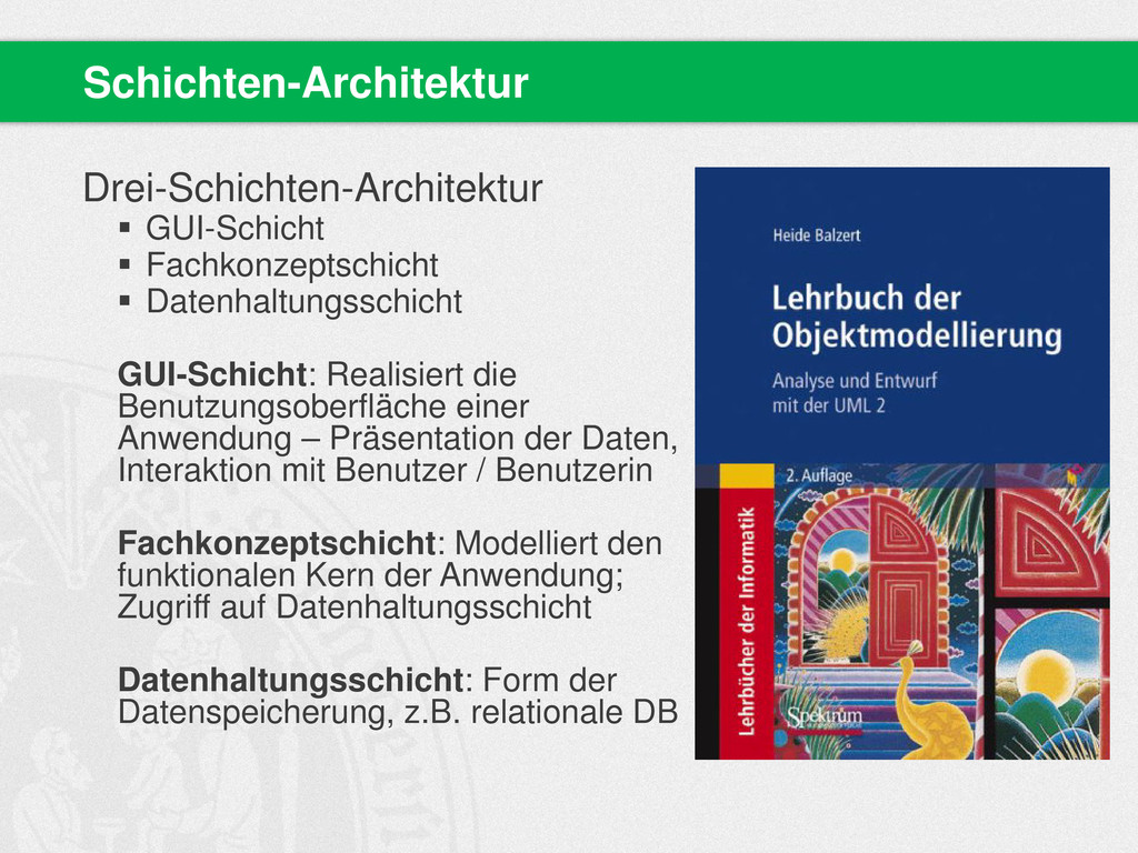 Drei-Schichten-Architektur  GUI-Schicht  Fach...