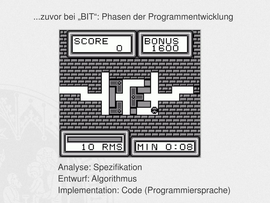 Analyse: Spezifikation Entwurf: Algorithmus Imp...