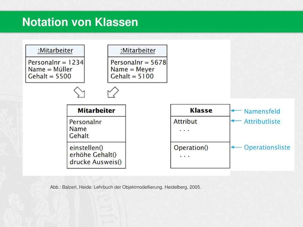 Notation von Klassen Abb.: Balzert, Heide: Lehr...