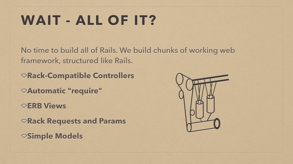 WAIT - ALL OF IT? No time to build all of Rails...